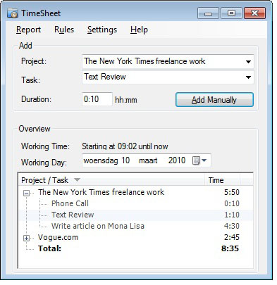 timesheet record your work time detectorpro